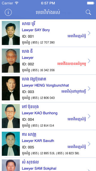 Directory of Lawyers In Cambodia