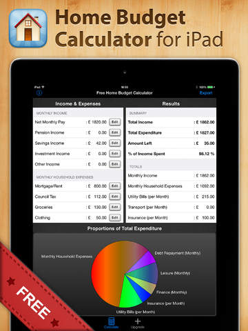 Free Home Budget Calculator for iPad