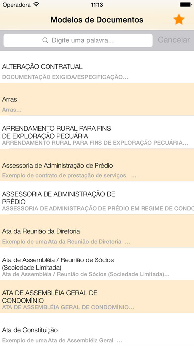 Modelo de Documentos iPhone Screenshot 1