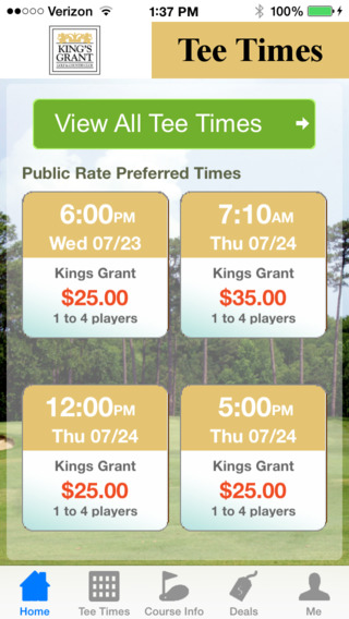 Kings Grant Golf and Country Club Tee Times