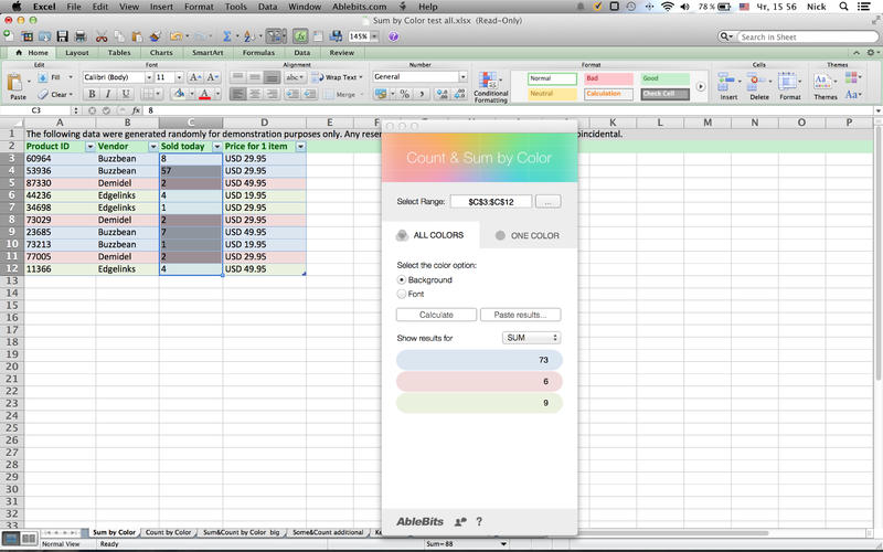 Count  Sum by Color for Microsoft Excel Screenshot - 2