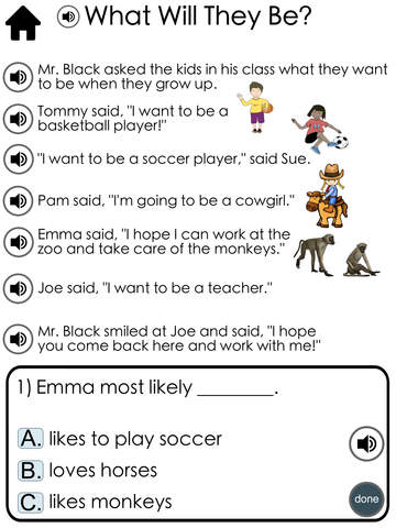 Reading Comprehension Passages with Multiple Choice Questions ~ Guided Reading Level F