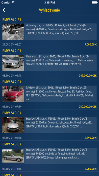 Autobazar.EU iPhone Screenshot 1