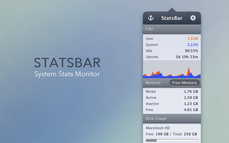 StatsBar - System Monitor for CPU, Memory, Disk Space, Network & Battery Screenshots