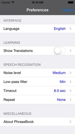 Spanish-Korean Talking Travel Phrasebook iPhone Screenshot 4