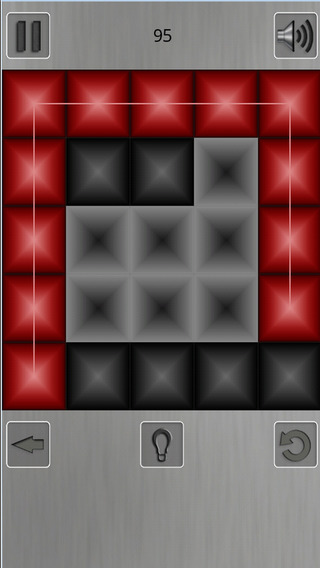 ZigZag Puzzle. Red and black squares. Find the path
