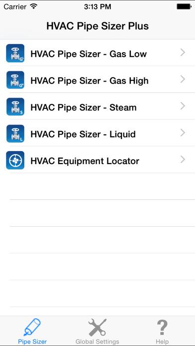 HVAC Pipe Sizer Plus iPhone Screenshot 1