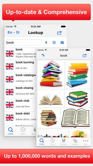 Advanced English Italian Dictionary Translation - Dizionario Inglese Italiano