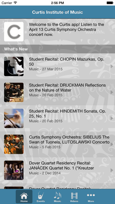 Curtis Institute of Music iPhone Screenshot 2