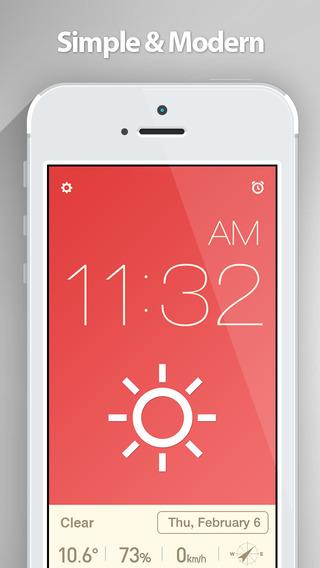 《时钟工具 红色时钟:Red Clock (Alarm & Weather) - 超简洁天气闹钟 [iOS]》