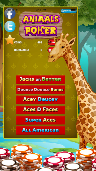 Wild African Animals Poker Deluxe - Full House of Fun