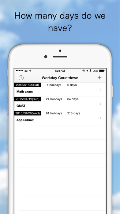 Workday Counter iPhone Screenshot 1
