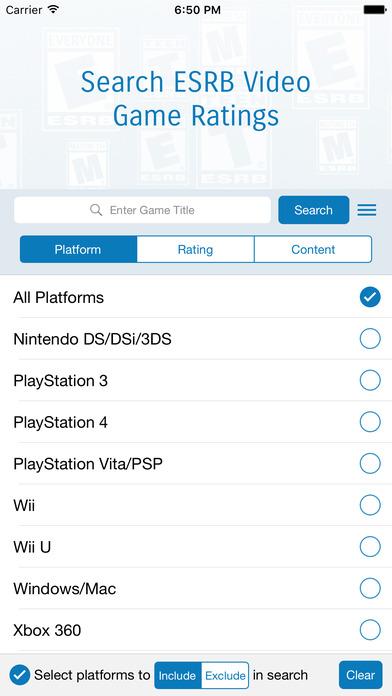 ESRB Rating Search App iPhone Screenshot 1