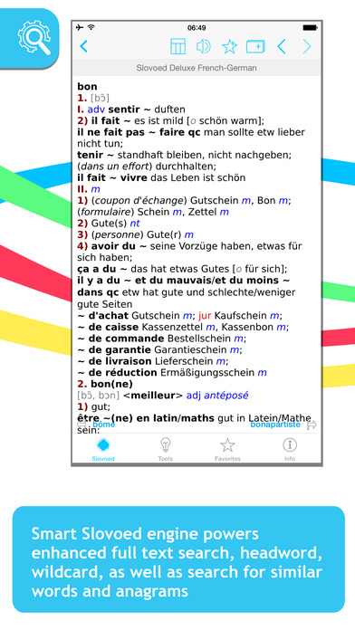 French <-> German Slovoed Deluxe talking dictionary iPhone Screenshot 1
