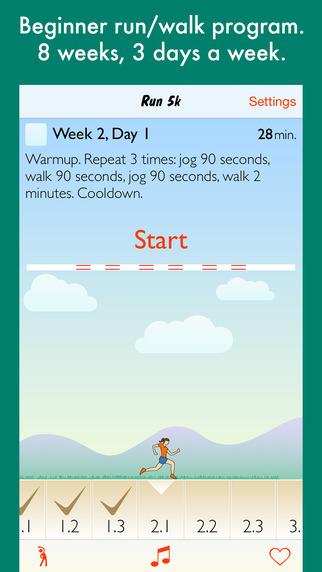 Run 5k - interval training coach + stretch program
