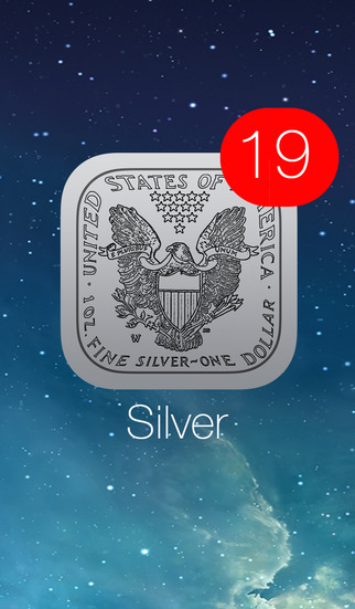 Silver Price Watch - live spot price on a troy ounce bullion coin icon w charts push notifications c
