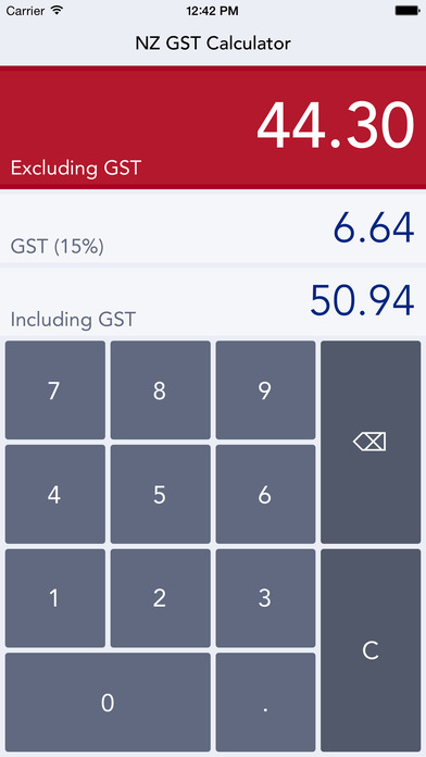 NZ GST Calculator iPhone Screenshot 1