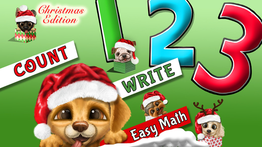 Cool Math Puppy Dogs 123 – Learn to Count Write Numbers - Christmas Holiday Edition