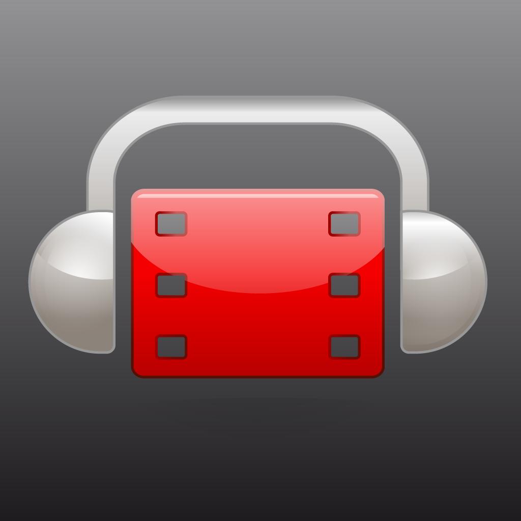 Icono de AudescMobile consistente en un fragmento de película de cine en rojo envuelta por unos auriculares grises.