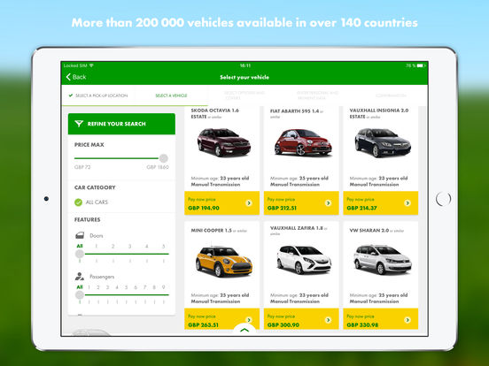 Europcar iPad Screenshot 1