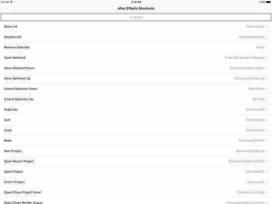 Shortcut Pro: After Effects Edition iPad Screenshot 1