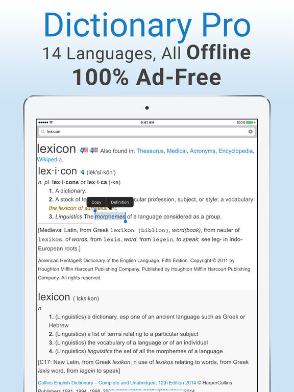 Dictionary Pro - Offline & Ad-Free Dictionary and Thesaurus screenshot