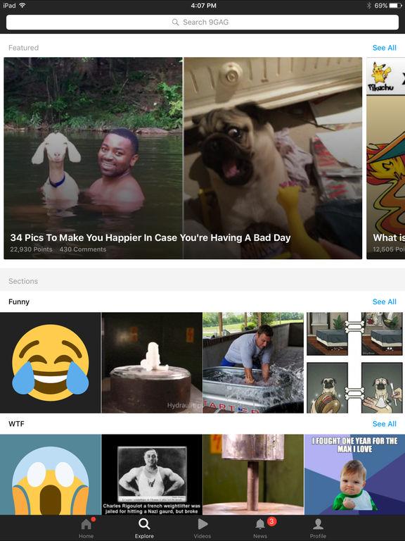 Screenshots of 9GAG: Best LOL Pics & GIFs for iPad