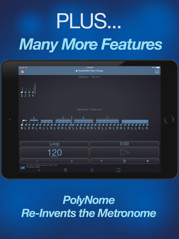PolyNome:Metronome, Drum Machine, Practice Log Screenshots