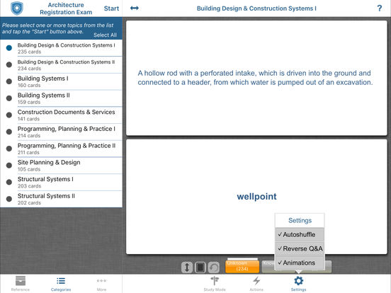 Kaplan Architecture Registration Exam (ARE) 4.0 Flashcards and Reference iPad Screenshot 2