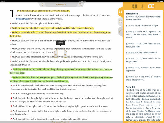 Bible with Matthew Henry Commentary screenshot