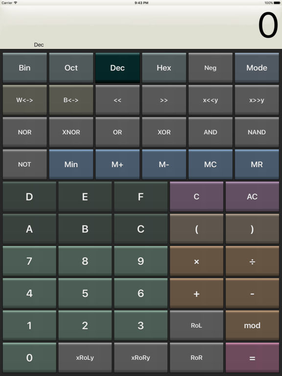 Kalkulilo (scientific calculator) screenshot