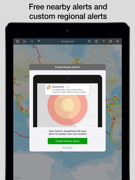 QuakeFeed Earthquake Map, Alerts and News - World Earthquakes Displayed on Esri Maps screenshot