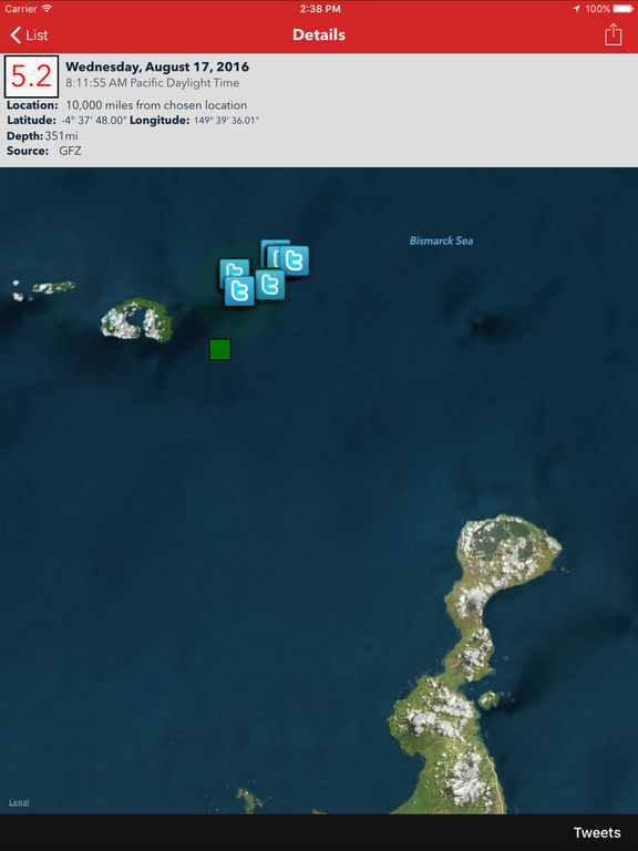 Earthquake - worldwide coverage of natural disasters Screenshots