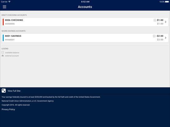 Portland FCU Mobile Banking iPad Screenshot 3