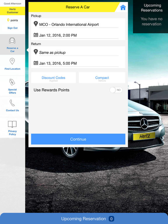 Hertz Rent-a-Car screenshot