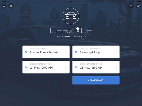 CarzUP - car rental app screenshot