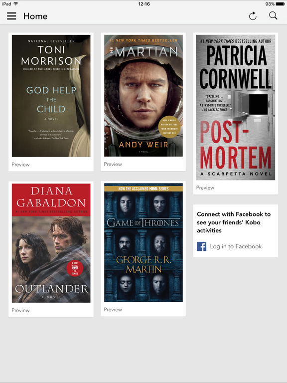 Screenshots of Kobo Books for iPad