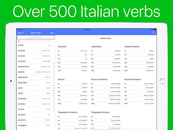 Italian Verb Conjugator - 500 verbs Screenshots