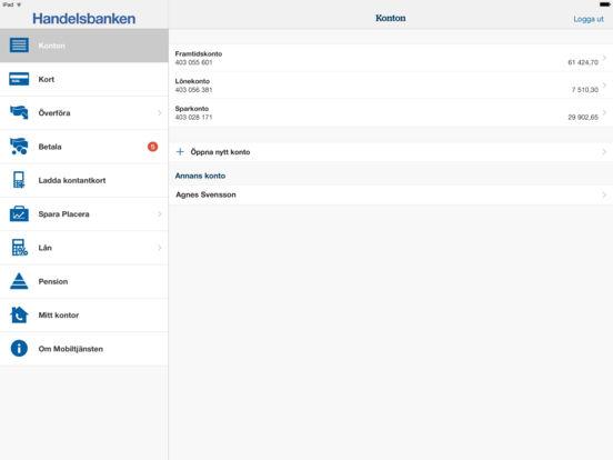 Handelsbanken Mobiltjänst iPad Screenshot 2