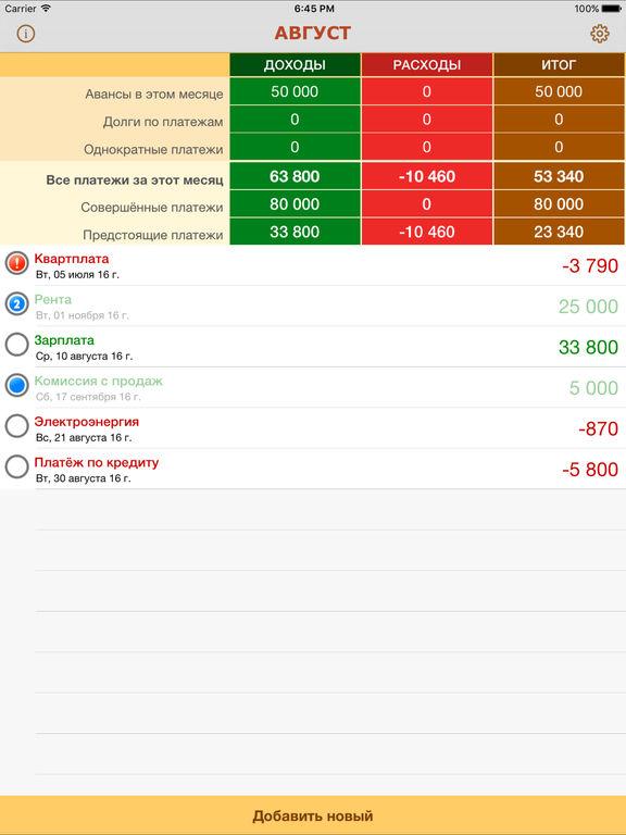 Платежи - уведомления про ежемесячные доходы, расходы, а также долги Screenshot