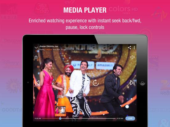 Jio TV iPad App Screenshots - Media Player