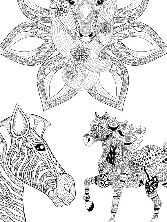 Mandalas Horses Coloring pages for adults - Pro By Valenapps ...