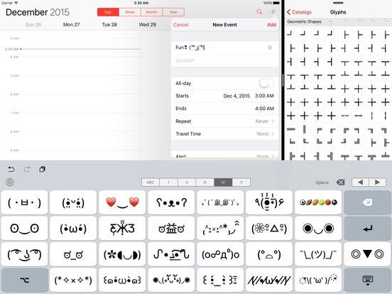 Unicode Pad Pro with custom keyboards Screenshots