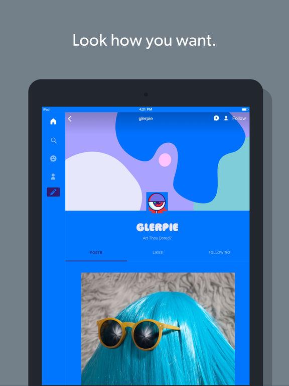 Screenshots of Tumblr for iPad