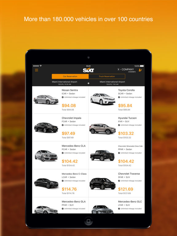 Screenshots of Sixt for iPad