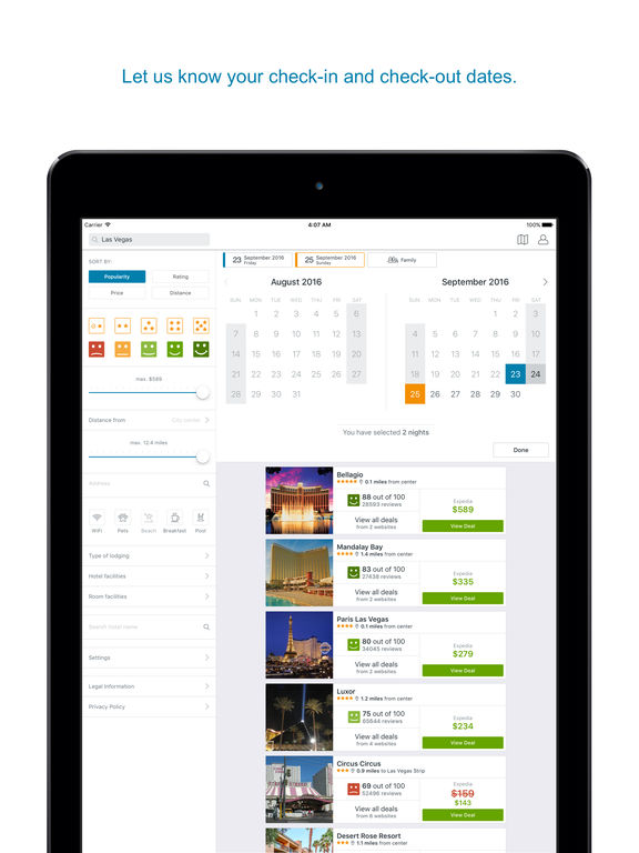 Trivago app hotel deals top travel booking sites on the for Best travel booking website