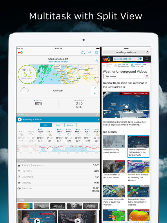 Screenshots of Weather Underground: Forecasts for iPad