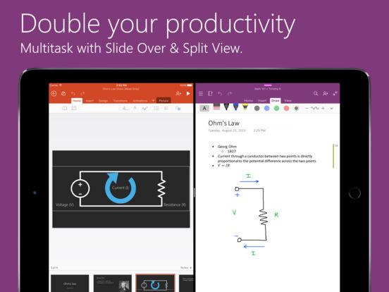 Screenshots of Microsoft OneNote for iPad
