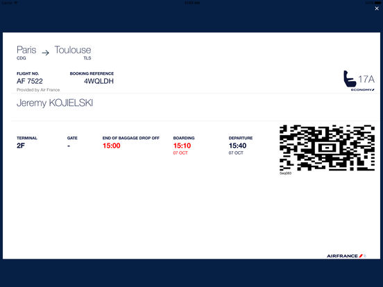 Air France Mobile iPad Screenshot 2