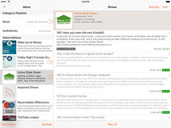 RSSRadio Podcast Downloader App screenshot